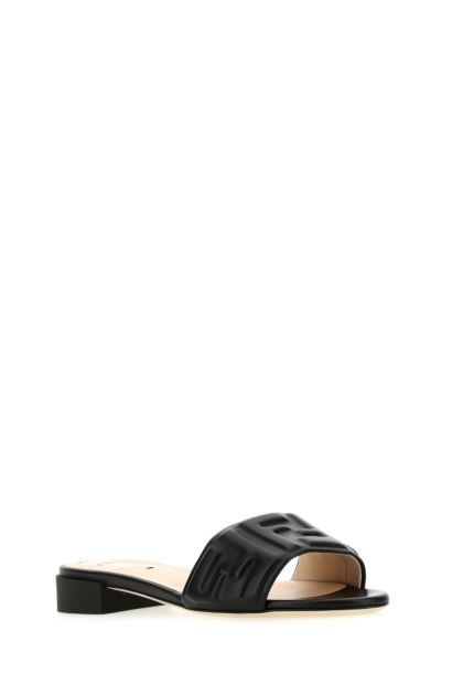 Black nappa leather slippers