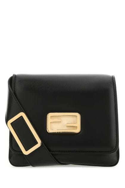 Black nappa leather small ID crossbody bag