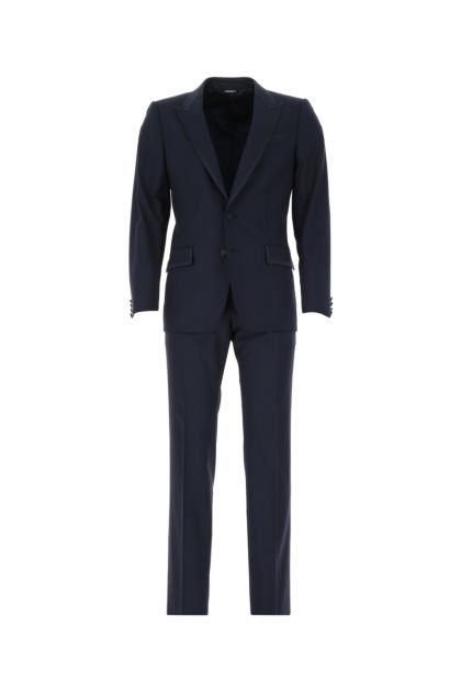 Navy blue stretch wool blend Martini suit