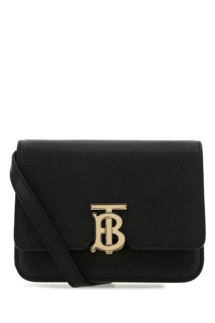 Black leather mini TB crossbody bag