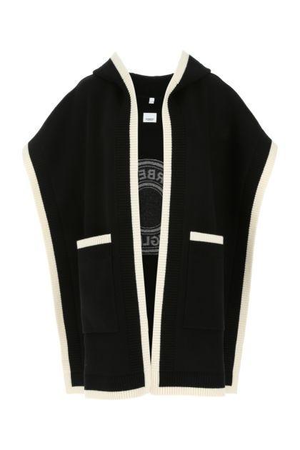Black stretch wool blend cape
