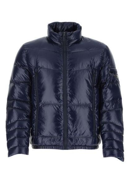 Blue nylon down jacket