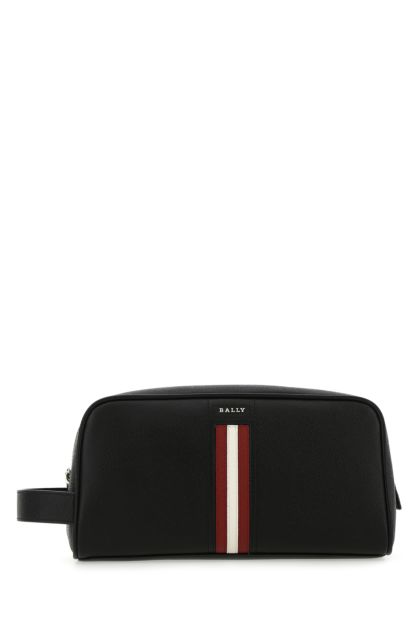 Black leather Takimo beauty case