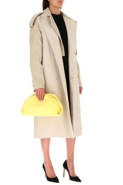 Pastel yellow nappa leather Pouch clutch