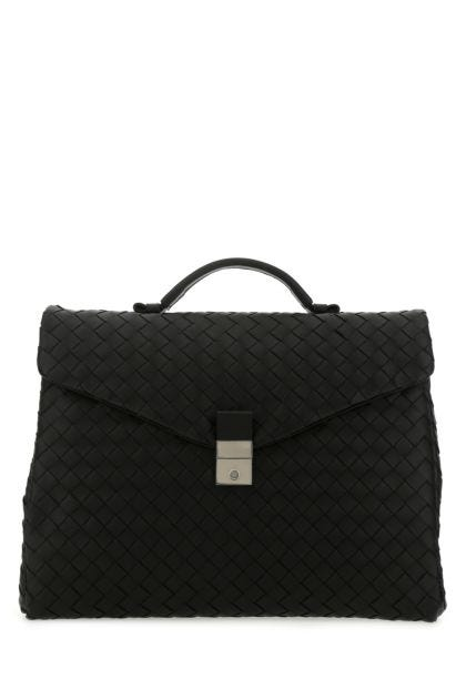Black nappa leather medium briefcase