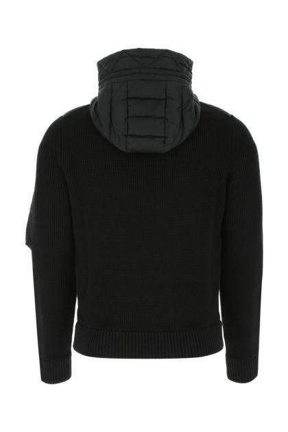 Black nylon and wool blend jacket