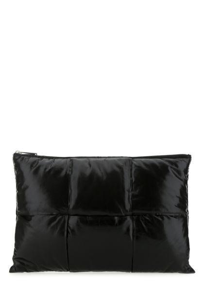 Black nappa leather medium clutch