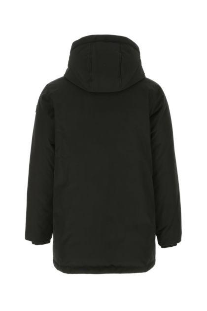 Black cotton blend reversible down jacket