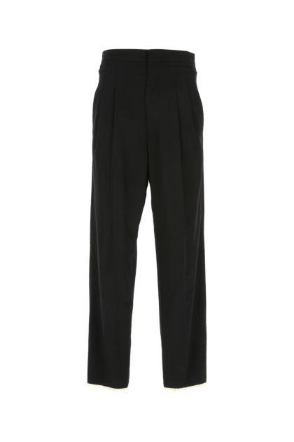 Black wool wide leg pant