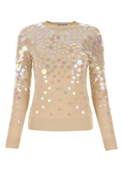 Embellished wool blend sweater
