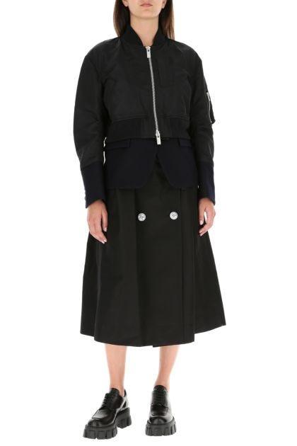 Bicolor nylon and cotton blend coat