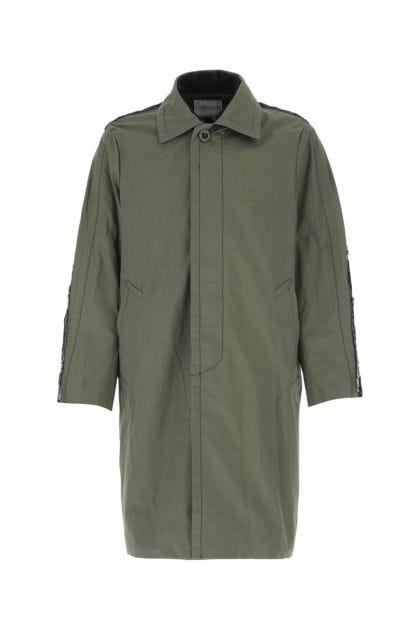 Army green cotton blend overcoat