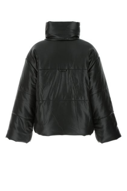 Black synthetic leather Hide padded jacket