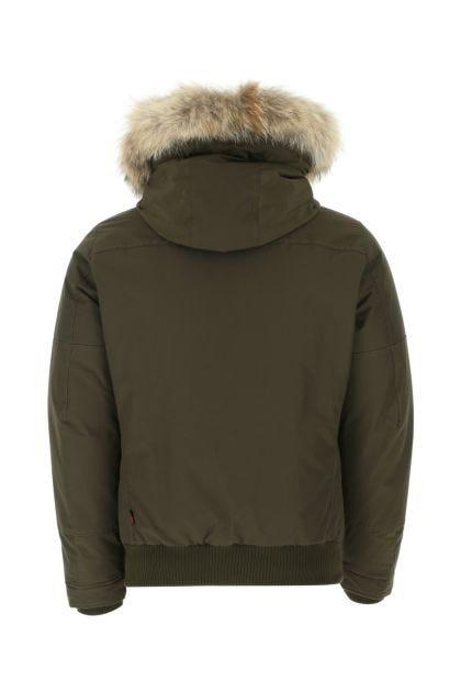 Khaki cotton blend down jacket