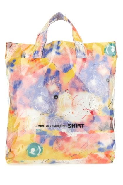 Multicolor cotton and PVC shopping bag