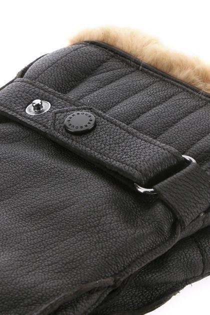 Dark brown leather gloves