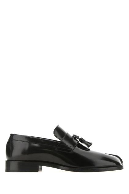 Black leather Tabi loafers