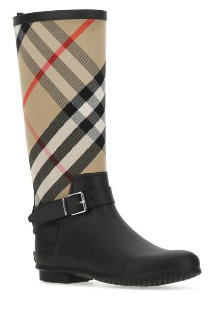 Multicolor rubber and fabric boots