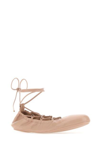 Powder pink nappa leather ballerinas
