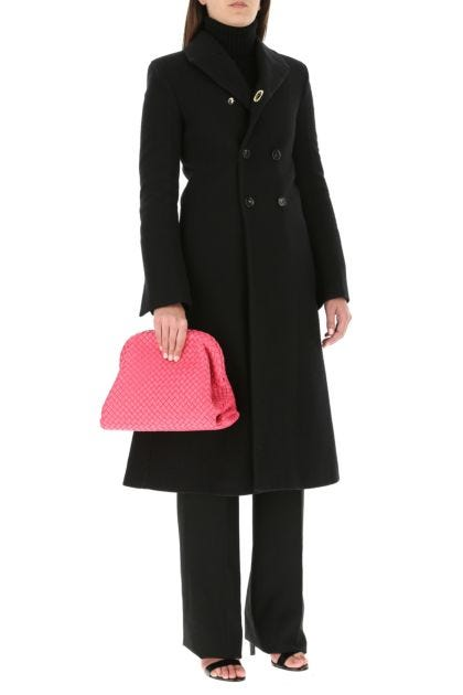 Pink nappa leather Clasp clutch