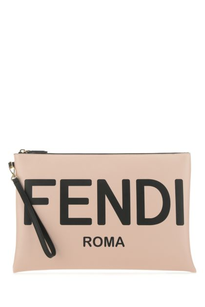 Powder pink leather large clutch