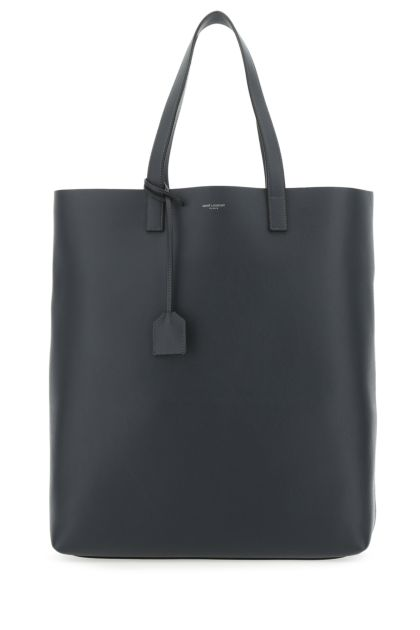 Graphite leather Bold shopping bag