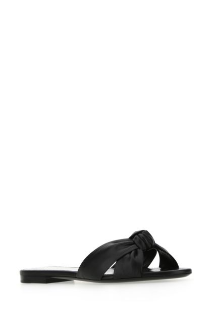 Black leather Bianca slippers