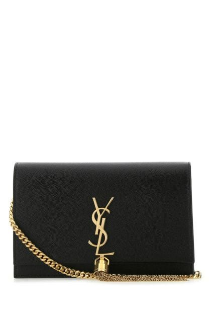 Black leather small Kate clutch