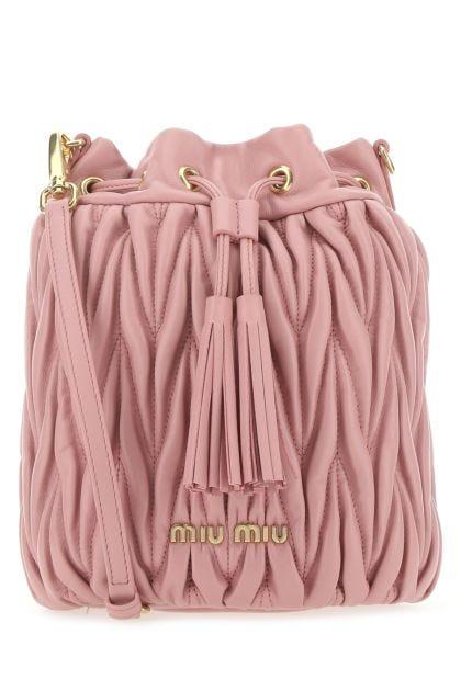 Pink nappa leather bucket bag