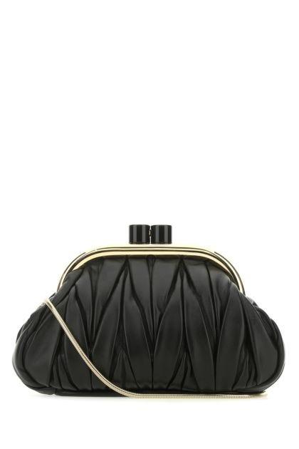 Black nappa leather Belle clutch