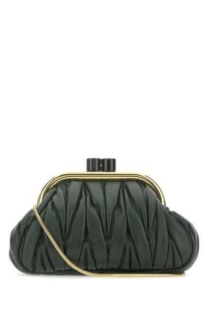 Bottle green nappa leather Belle clutch