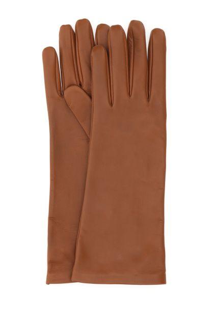 Caramel nappa leather gloves