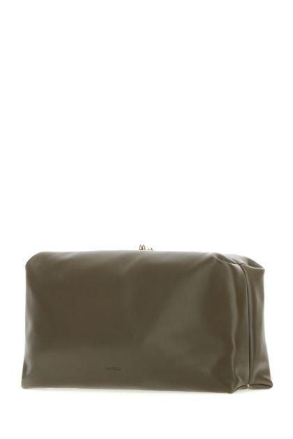 Army green nappa leather clutch