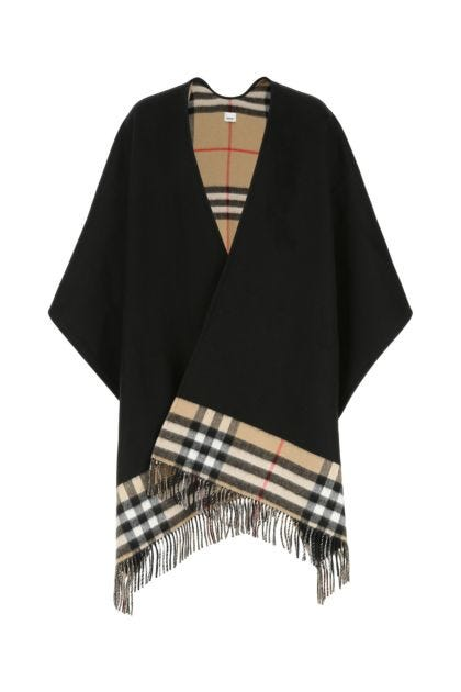 Black cashmere and wool cape