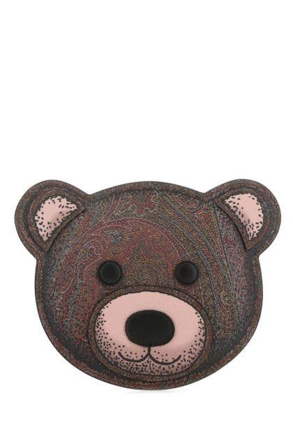 Multicolor cnavas and leather Teddy Bear coin purse