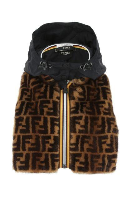 Multicolor fur and nylon neck warmer