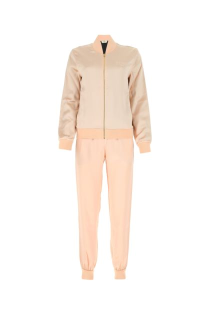 Powder pink satin jumpsuit