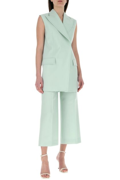 Sea green wool sleeveless blazer