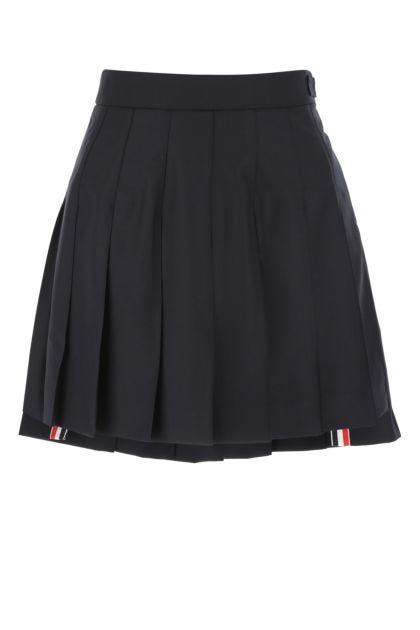 Midnight blue wool mini skirt