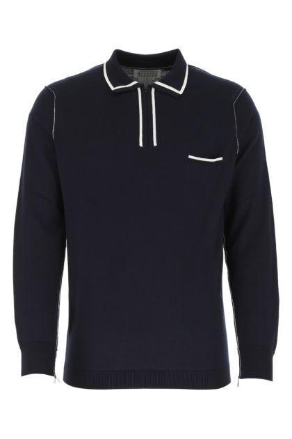 Dark blue cotton polo shirt