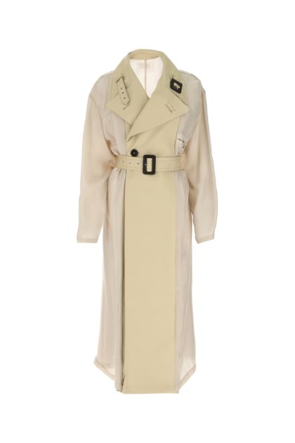 Two-tone cotton and cupro trench coat