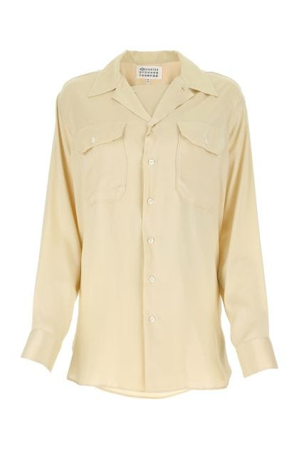 Cream stretch viscose blend shirt
