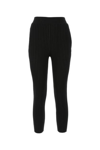 Black wool blend leggings