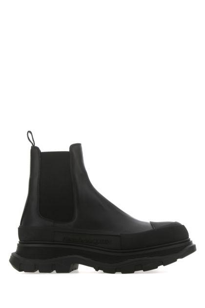 Black leather Tread Slick ankle boots