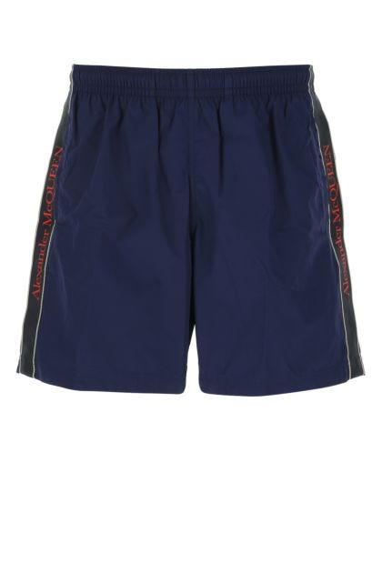Blue nylon swimming shorts