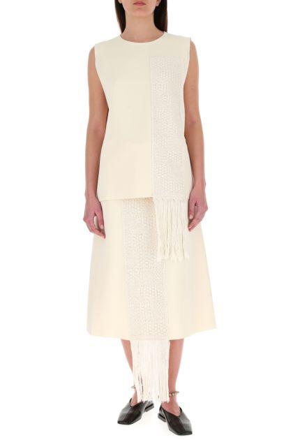 Ivory stretch viscose blend skirt