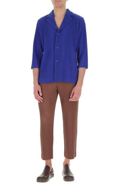 Electric blue polyester blazer