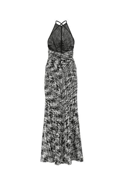 Embroidered viscose long dress