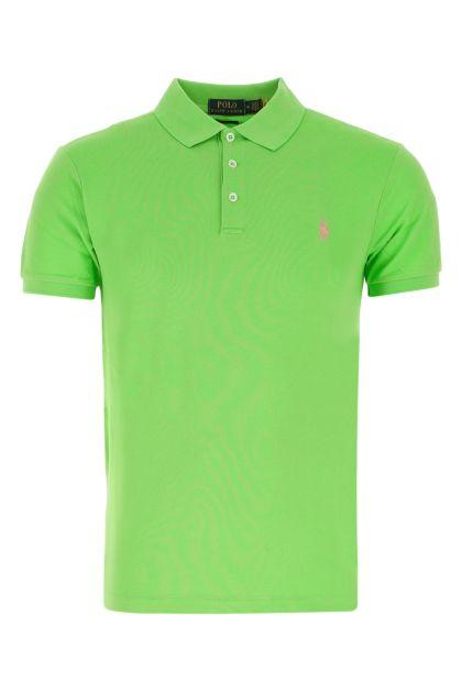 Light green stretch piquet polo shirt