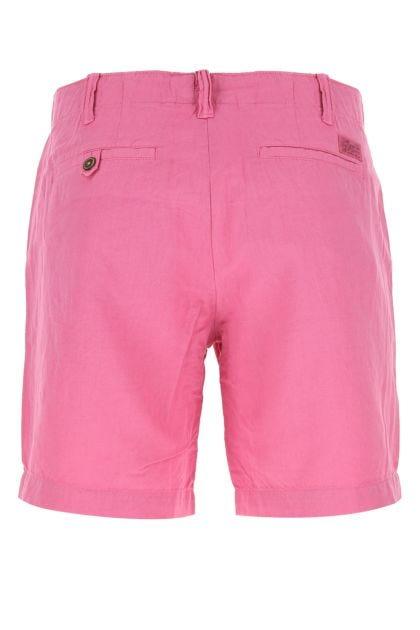 Fuchsia linen blend bermuda shorts